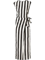 Barbara I Gongini Striped Wrap Dress Black
