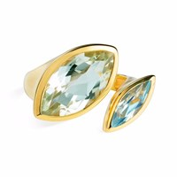 Neola Celestine Gold Ring Green Amethyst And Topaz