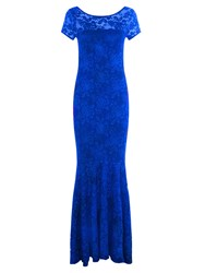 Hotsquash Long Lace Dress With Cap Sleeve Royal Blue