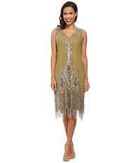 Unique Vintage Green Silver Embroidered Flapper Dress Green Women's Clothing
