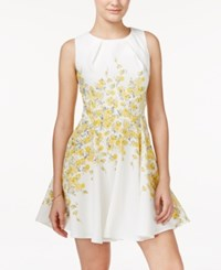Teeze Me Juniors' Sleeveless Floral Print Fit And Flare Dress Off White Yellow