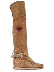 El Vaquero 70Mm Suede Over The Knee Wedge Boots