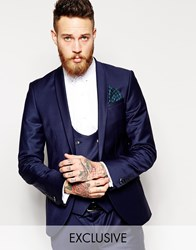 Noose And Monkey Suit Jacket With Stretch And Shawl Lapel In Super Skinny Fit Blue