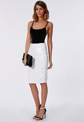 Missguided Sequin Midi Skirt White White