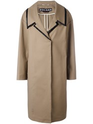 Rochas Oversized Collar Coat Women Cotton Spandex Elastane 38 Brown