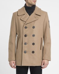 Schott Nyc Beige Made In Usa Wool Pea Coat