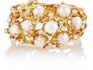 Mahnaz Collection Vintage Women's Yellow Gold And White Pearl Bracelet C Colorless