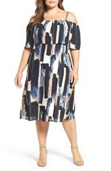 Sejour Plus Size Women's Off The Shoulder Dress Ivory Blue Print