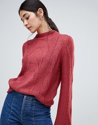 Vila Open Knit Cable Knit High Neck Jumper Earth Red