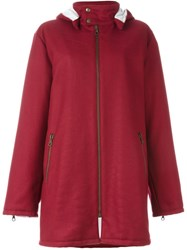 Gigli Vintage Stitch Detail Hooded Coat Red