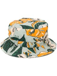 R 13 R13 Floral Print Bucket Hat Blue