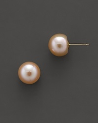 Bloomingdale's Natural Color Peach Freshwater Pearl Stud Earrings 10 Mm No Color