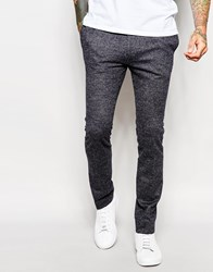 Asos Superskinny Fit Smart Trousers In Jersey Wool Mix Charcoal