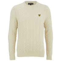 Lyle And Scott Vintage Men's Crew Neck Cable Knit Ivory