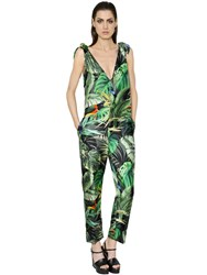 Max Mara Tropical Print Silk Twill Jumpsuit