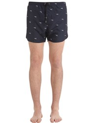 Neil Barrett Guns Printed Nylon Swim Shorts Navy