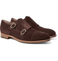 Paul Smith Atkins Suede Monk Strap Shoes Brown