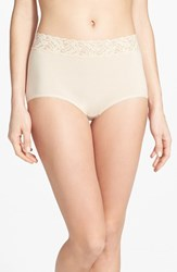 Women's Wacoal 'Cotton Suede' Lace Trim Briefs Naturally Nude
