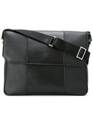 Canali Embossed Logo Messenger Bag Black