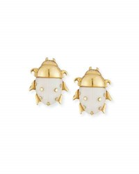 Muse 18K Yellow Gold Diamond And Opal Scarab Stud Earrings