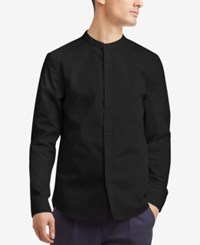 Kenneth Cole Reaction Men's Band Collar Shirt Black