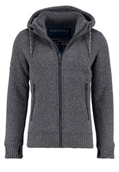Superdry Expedition Cardigan Grey Grit Mottled Anthracite
