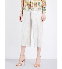 Alice Olivia Elba Cropped Metallic Trousers Pale Gold