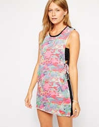 Insight Static Print Lace Up Detail Beach Dress Multistatic
