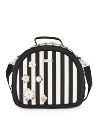 Betsey Johnson Hat Box Round Weekender Bag Black Pattern