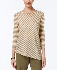 Alfred Dunner Cactus Ranch Collection Striped Asymmetrical Hem Top Stone