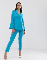 Lavish Alice Button Detail Tailored Trousers In Turquoise Green