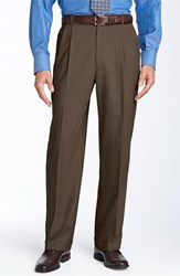 Men's Big And Tall Ballin Double Reverse Pleated Wool Twill Trousers Saddle
