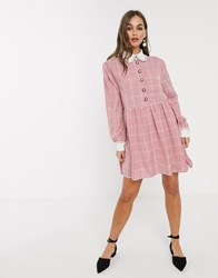 Sister Jane Mini Smock Dress With Ornate Buttons In Light Grid Check Pink