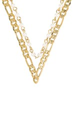 Vanessa Mooney The Rhapsody Chain And Pearl Necklace In Metallic Gold.