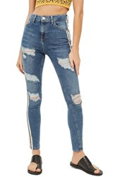 Topshop Side Stripe Jeans Blue Multi