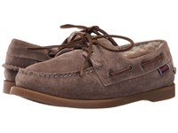 Sebago Dockside Shearling Dark Taupe Leather Women's Shoes