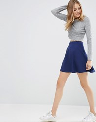 Asos Skater Skirt In Texture Dark Navy Blue