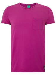 Scotch And Soda Garment Dyed Twisted Crew Neck T Shirt Raving Violet