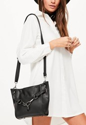 Missguided Black Chain Lock Cross Body Bag