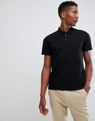 Selected Homme Polo Shirt In Structured Waffle Black Beauty Navy