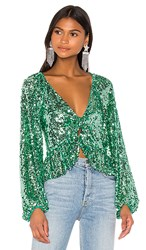 For Love And Lemons Madeleine Sequin Top In Mint.