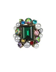 Betsey Johnson Pearl And Faceted Stone Ring Multi