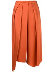 Chalayan Cropped Draped Trousers Yellow And Orange