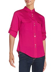 Ivanka Trump Point Collar Long Sleeve Shirt Dahlia