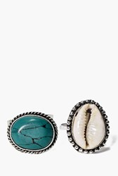 Boohoo Shell And Large Stone Ring Pack Silver