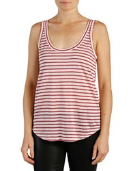 Paige Striped Linen Racerback Tank Top White Rose