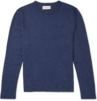 Officine Generale Loopback Cotton Terry Sweater Blue