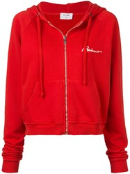 Re Done Zipped Logo Hoodie Red
