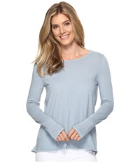 Dylan By True Grit Vintage Soft Cotton Long Sleeve Tiered Back Tee Denim Blue Women's Long Sleeve Pullover