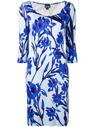 Just Cavalli Fitted Floral Dress Blue